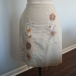 Beige Embroidered A-line Cotton Skirt